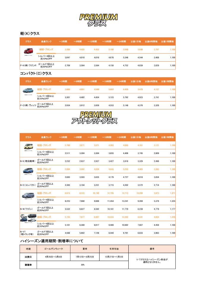 24レンタカー価格表